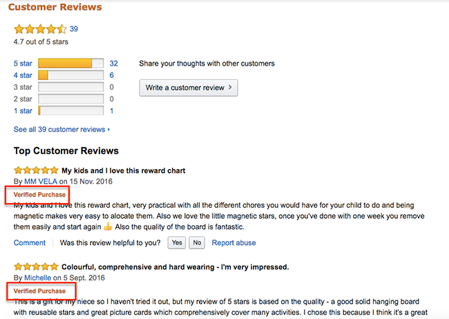 amazon customer review page